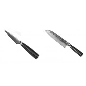 Nůž na ovoce a zeleninu Seburo SARADA Damascus 90mm + Santoku nůž Seburo SARADA Damascus 190mm