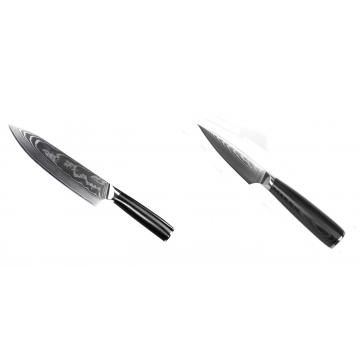 Šéfkuchařský nůž Seburo SARADA II Damascus 190mm + Nůž na ovoce a zeleninu Seburo SARADA Damascus 90mm