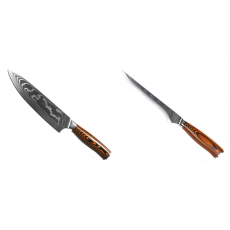 Šéfkuchařský nůž Seburo SUBAJA II Damascus 195mm + Vykosťovací...