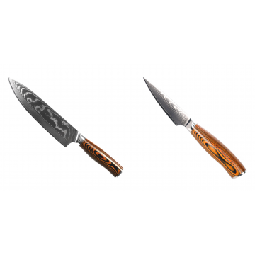 Šéfkuchařský nůž Seburo SUBAJA II Damascus 195mm + Nůž na ovoce a zeleninu Seburo SUBAJA Damascus 90mm