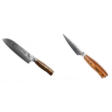 Santoku nůž Seburo SUBAJA II Damascus 190mm + Nůž na ovoce a zeleninu Seburo SUBAJA Damascus 90mm