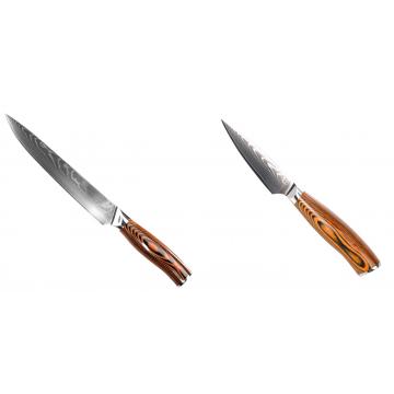 Filetovací nůž Seburo SUBAJA II Damascus 200mm + Nůž na ovoce a zeleninu Seburo SUBAJA Damascus 90mm