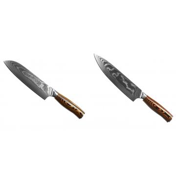 Santoku nůž Seburo SUBAJA II Damascus 190mm + Šéfkuchařský nůž Seburo SUBAJA II Damascus 195mm