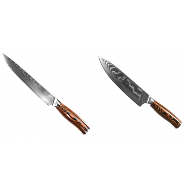 Filetovací nůž Seburo SUBAJA II Damascus 200mm + Šéfkuchařský nůž Seburo SUBAJA II Damascus 195mm