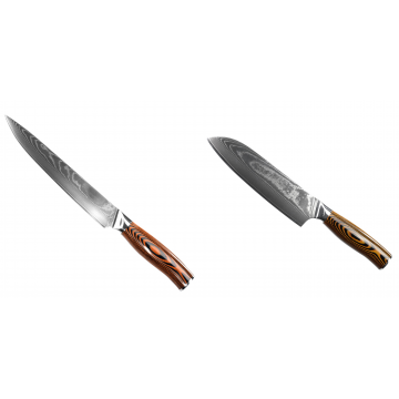 Filetovací nůž Seburo SUBAJA II Damascus 200mm + Santoku nůž Seburo SUBAJA II Damascus 190mm