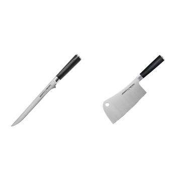 Filetovací nůž Samura Mo-V (SM-0048), 218 mm + Kuchařský nůž-sekáček Samura Mo-V (SM-0040), 180mm