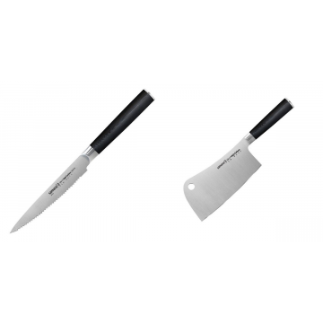 Nůž na rajčata Samura MO-V (SM-0071), 120mm + Kuchařský nůž-sekáček Samura Mo-V (SM-0040), 180mm