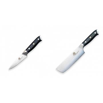 Nůž na okrajování ovoce a zeleniny Dellinger Samurai Professional Damascus VG-10, 100mm + Nůž na krájení a sekání zeleniny Nakiri Dellinger Samurai Professional Damascus VG-10, 165mm