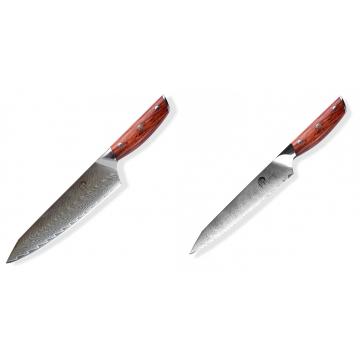 Japonský nůž na maso Gyuto / Chef Kiritsuke Dellinger Rose-Wood Damascus, 215mm + Nůž na chléb a pečivo Dellinger Rose-Wood Damascus, 210mm