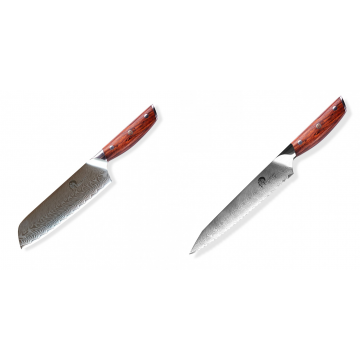 Japonský univerzální nůž SANTOKU / Chef Dellinger Rose-Wood Damascus, 175mm + Nůž na chléb a pečivo Dellinger Rose-Wood Damascus, 210mm