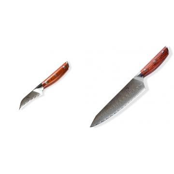 Japonský nůž na okrajování ovoce a zeleniny Dellinger Rose-Wood Damascus, 70mm + Japonský nůž na maso Gyuto / Chef Kiritsuke Dellinger Rose-Wood Damascus, 215mm