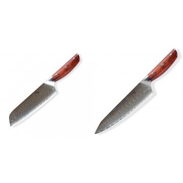 Japonský univerzální nůž SANTOKU / Chef Dellinger Rose-Wood Damascus, 175mm + Japonský nůž na maso Gyuto / Chef Kiritsuke Dellinger Rose-Wood Damascus, 215mm