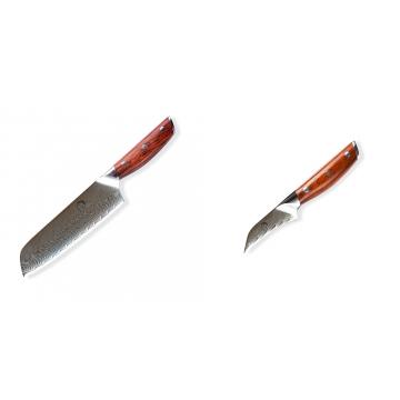 Japonský univerzální nůž SANTOKU / Chef Dellinger Rose-Wood Damascus, 175mm + Japonský nůž na okrajování ovoce a zeleniny Dellinger Rose-Wood Damascus, 70mm