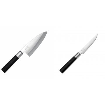 Vykosťovací nůž KAI Wasabi Black Deba, 155 mm + Steakový nůž KAI Wasabi Black, 110mm