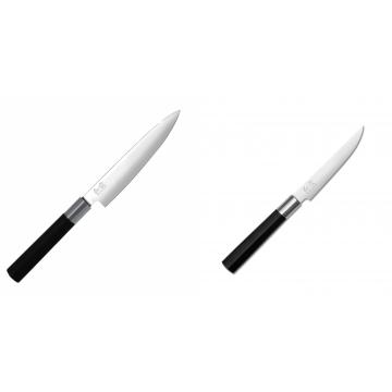 Univerzální nůž KAI Wasabi Black (6715U), 150 mm + Steakový nůž KAI Wasabi Black, 110mm