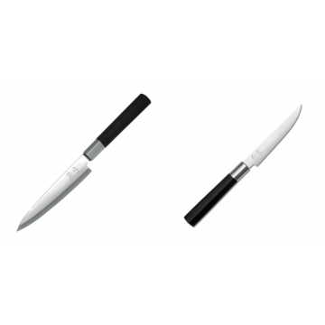 Plátkovací nůž KAI Wasabi Black Yanagiba, 155mm + Steakový nůž KAI Wasabi Black, 110mm