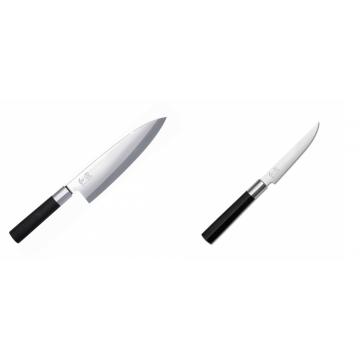 Wasabi Black Deba KAI 210mm + Steakový nůž KAI Wasabi Black, 110mm