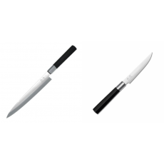 Plátkovací nůž KAI Wasabi Black Yanagiba, 210mm + Steakový nůž...