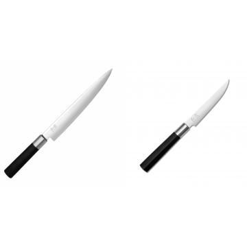 Plátkovací nůž KAI Wasabi Black, 230 mm + Steakový nůž KAI Wasabi Black, 110mm