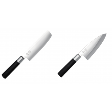 Wasabi Black Nakiri KAI 165mm + Vykosťovací nůž KAI Wasabi Black Deba, 155 mm