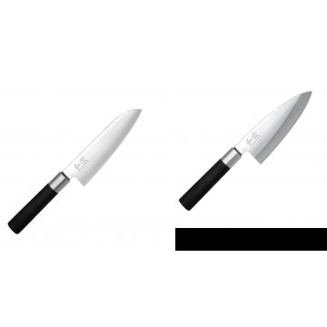 Santoku nůž KAI Wasabi Black (6716S), 165 mm + Vykosťovací nůž KAI Wasabi Black Deba, 155 mm