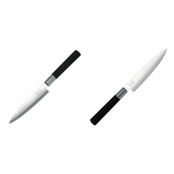 Plátkovací nůž KAI Wasabi Black Yanagiba, 155mm + Univerzální nůž KAI Wasabi Black (6715U), 150 mm