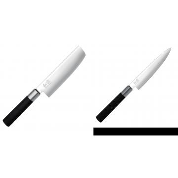 Wasabi Black Nakiri KAI 165mm + Univerzální nůž KAI Wasabi Black (6715U), 150 mm