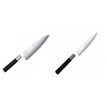 Wasabi Black Deba KAI 210mm + Univerzální nůž KAI Wasabi Black (6715U), 150 mm