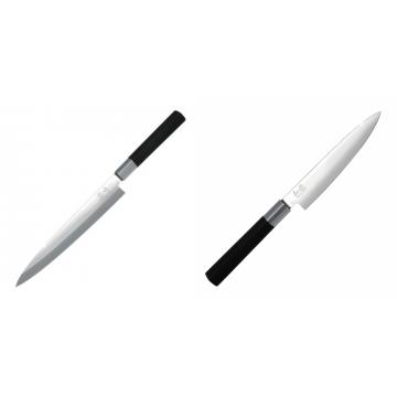 Plátkovací nůž KAI Wasabi Black Yanagiba, 210mm + Univerzální nůž KAI Wasabi Black (6715U), 150 mm