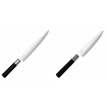Plátkovací nůž KAI Wasabi Black, 230 mm + Univerzální nůž KAI Wasabi Black (6715U), 150 mm