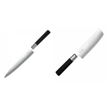 Plátkovací nůž KAI Wasabi Black Yanagiba, 210mm + Wasabi Black Nakiri KAI 165mm