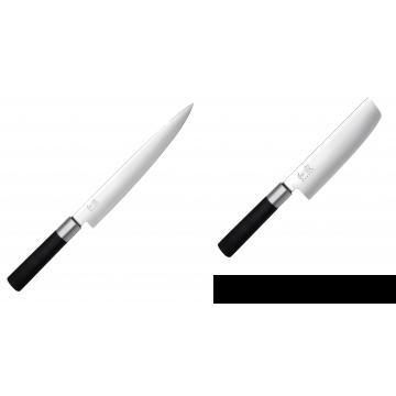 Plátkovací nůž KAI Wasabi Black, 230 mm + Wasabi Black Nakiri KAI 165mm