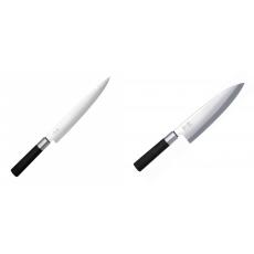 Plátkovací nůž KAI Wasabi Black, 230 mm + Wasabi Black Deba KAI...