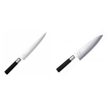Plátkovací nůž KAI Wasabi Black, 230 mm + Wasabi Black Deba KAI 210mm