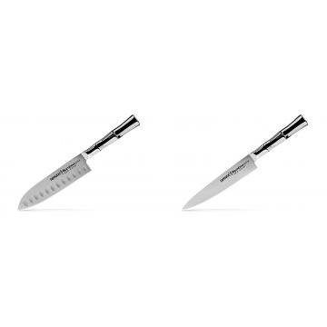 Malý Santoku nůž Samura Bamboo (SBA-0093), 137 mm + Univerzální nůž Samura Bamboo (SBA-0023), 150 mm