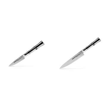 Nůž na ovoce a zeleninu Samura Bamboo (SBA-0010), 80 mm + Univerzální nůž Samura Bamboo (SBA-0023), 150 mm