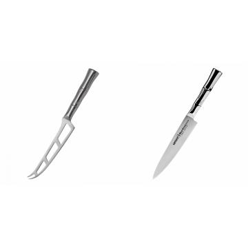 Nůž na sýr Samura Bamboo (SBA-0022), 135 mm + Univerzální nůž Samura Bamboo (SBA-0023), 150 mm