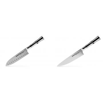 Malý Santoku nůž Samura Bamboo (SBA-0093), 137 mm + Šéfkuchařský nůž Samura Bamboo (SBA-0085), 200 mm