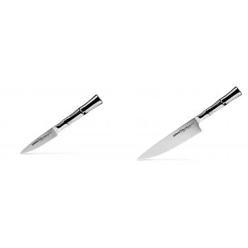 Nůž na ovoce a zeleninu Samura Bamboo (SBA-0010), 80 mm + Šéfkuchařský nůž Samura Bamboo (SBA-0085), 200 mm
