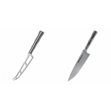 Nůž na sýr Samura Bamboo (SBA-0022), 135 mm + Šéfkuchařský nůž Samura Bamboo (SBA-0085), 200 mm