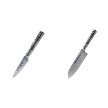 Nůž na ovoce a zeleninu Samura Bamboo (SBA-0010), 80 mm + Malý Santoku nůž Samura Bamboo (SBA-0093), 137 mm