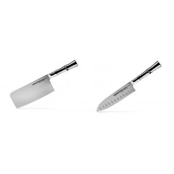 Kuchyňský nůž-sekáček Samura Bamboo (SBA-0040), 180 mm + Malý Santoku nůž Samura Bamboo (SBA-0093), 137 mm