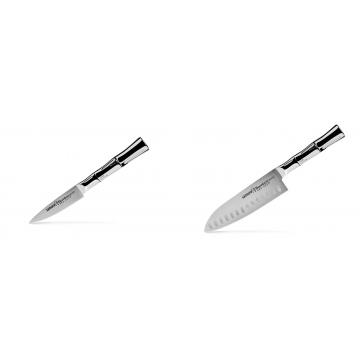 Nůž na ovoce a zeleninu Samura Bamboo (SBA-0010), 80 mm + Santoku nůž Samura Bamboo (SBA-0094), 160 mm