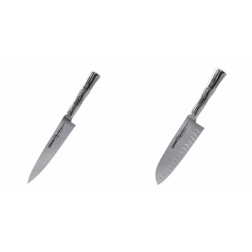 Univerzální nůž Samura Bamboo (SBA-0021), 125 mm + Santoku nůž Samura Bamboo (SBA-0094), 160 mm