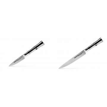 Nůž na ovoce a zeleninu Samura Bamboo (SBA-0010), 80 mm + Filetovací nůž Samura Bamboo (SBA-0045), 200 mm