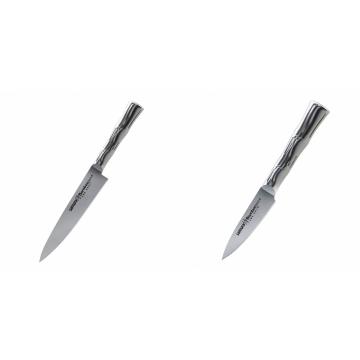 Univerzální nůž Samura Bamboo (SBA-0021), 125 mm + Nůž na ovoce a zeleninu Samura Bamboo (SBA-0010), 80 mm