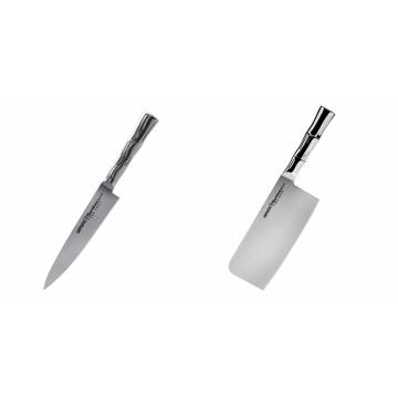 Univerzální nůž Samura Bamboo (SBA-0021), 125 mm + Kuchyňský nůž-sekáček Samura Bamboo (SBA-0040), 180 mm