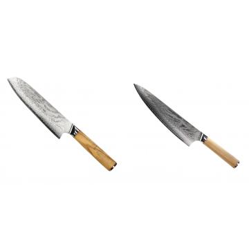 Santoku nůž Seburo HOKORI Damascus 180mm + Šéfkuchařský nůž Seburo HOKORI Damascus 230mm