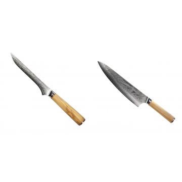 Vykosťovací nůž Seburo HOKORI Damascus 130mm + Šéfkuchařský nůž Seburo HOKORI Damascus 230mm