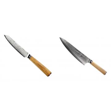 Univerzální nůž Seburo HOKORI EDGE Damascus 130mm + Šéfkuchařský nůž Seburo HOKORI Damascus 230mm